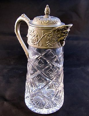 Hand Cut Glass Decanter With Pewter Lid