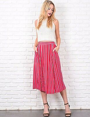 Vintage 80s Pink Striped Skirt Pleated High Waist White A-Line Small S