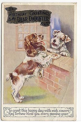 English Springer Spaniel And Terrier Dog Art Greetings Postcard By Mabel Gear