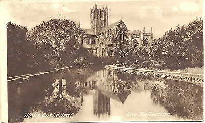 UK Vintage Postcard Wells Cathedral - The Reflection