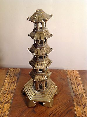 Vintage Antique Chinese Brass  Tall Pagoda Feng Shui