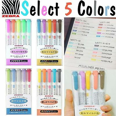 Select 5 Color Set -  Zebra Mildliner Soft Color Double-Sided Highlighter Marker