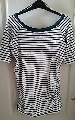 New Look Size 14 Maternity Top - White with Navy Stripes
