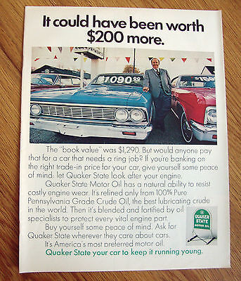 1970 Quaker State Oil Ad Mercury Ford Plymouth Chevrolet ?