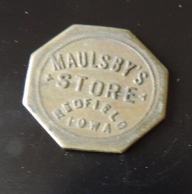 Maulsby's Store Good For 10c In Trade Brass Token Redfield Iowa Des Moines area