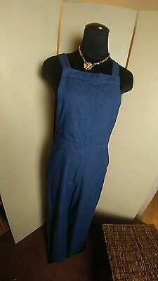 Xhiliration womens denim Wide leg bib jumper overall size large excellent cond.