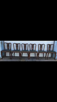 Unusual European Carved Oak Dining Chairs Vintage Antique