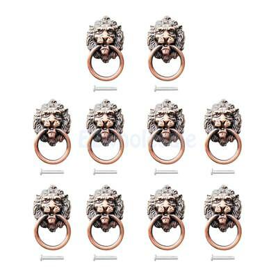 10Pcs Red Brass Vintage Style Kitchen Cabinet Door Drawer Knobs Handle Pull