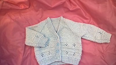 New Hand Knitted Baby Cardigan In baby blue Wool - 0-3 Months