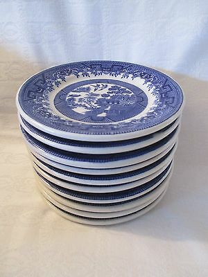 Ten Blue Willow Bread & Butter Restaurant Ware Plates, Shenango, Caribe China