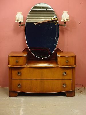 VINTAGE 1950's ART DECO WALNUT DRESSING TABLE with OVAL MIRROR AND LIGHTS