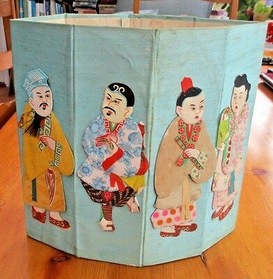 Antique Japanese Handmade Silk Cricket Insect Cage Cover With Figures In Relief