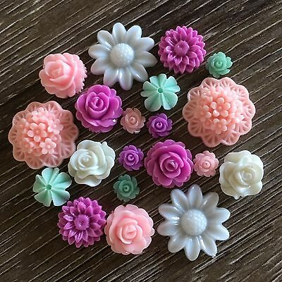 20 Purple Mint Pink White Mixed Flower Resin Cabochon Flatback Embellishments