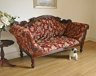 Antique Style Carved Mahogany Settee / Daybed / Sofa / Couch / Chaise Lounge # 2