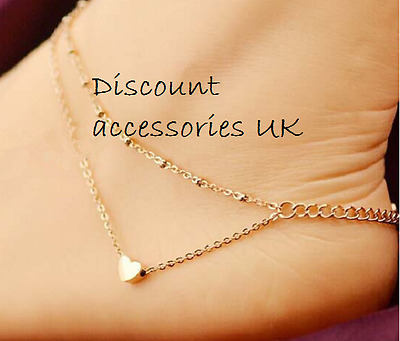 Double Heart Gold Chain Ankle Bracelet Anklet Foot Jewellery Beach Holiday UK