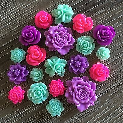 20 Pink and Purple Rose Flower Resin Cabochon Flatback Embellishments DIY Craft