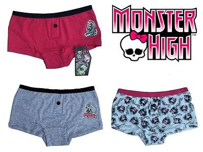 Girls Monster High Briefs Knickers Underwear Pants Age 12-13 Years Pack of 3