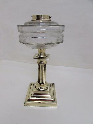 Antique Brass Corinthian Oil Lamp Base With Glass Reservoir
