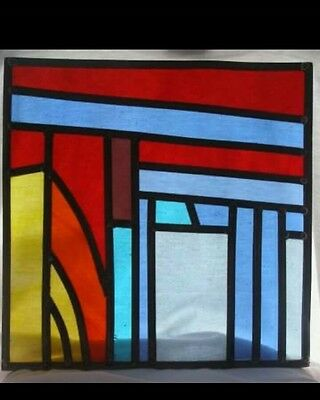 Abstract style stained glass panel
