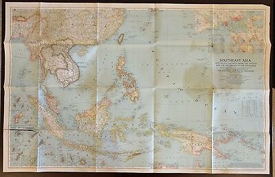 Rare Vintage 1944 Southeast Asia National Geographic Map