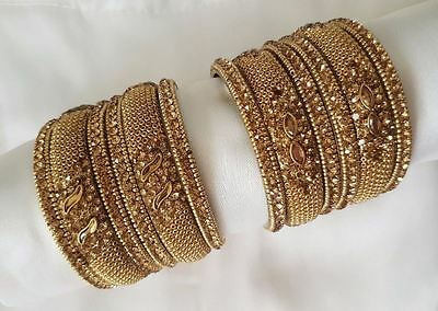 New Indian Gold Bangle Diamond Bracelet Threaded Asain Wedding Jewellery Party