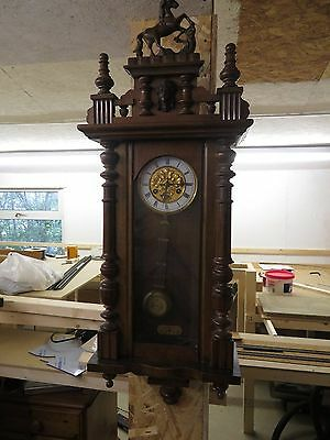Antique Wooden Vienna Regulator  Wall Clock with Prancing Horse On Top