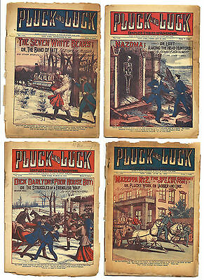 """4 issues of Pluck and Luck """"Dime Novels"""" from the 1920s - set #1"""