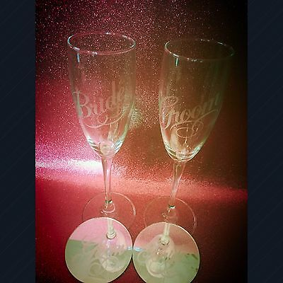 Bride And Groom Champagne Flutes With Matching Coasters