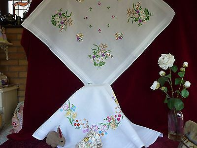 TWO Pretty Vintage Hand Embroidered Tablecloths GC.