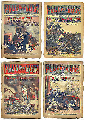 """4 issues of Pluck and Luck """"Dime Novels"""" from the 1920s  - set #3"""