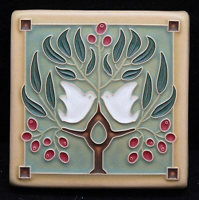 4x4 Arts & Crafts Lovebirds Tile in Sage by Arts & Craftsman Tileworks