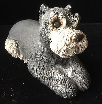 "Sandicast Dog Figurine Signed Sandra Brue '83 Laying 8.5"" Gray Schnauzer"
