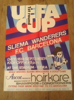 Sliema Wanderers V Barcelona Uefa Cup 1St Round 1980 Rare Orig Matchday Poster