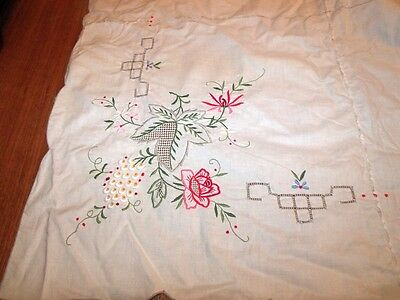 "Vintage Machine Cutwork and Embroidered Tablecloth & 12 Napkins 64"" x 98"