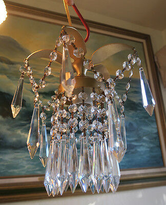 1 Pineapple lamp foyer Brass Chandelier crystal prism vintage pendant light
