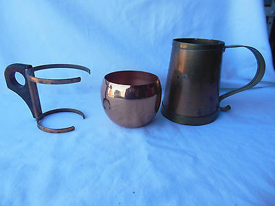 Vintage Lot of Copper & Brass Drinking Mugs, Good/Used Condition