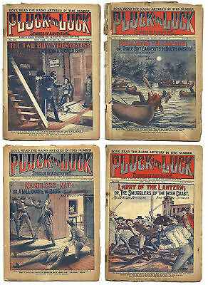 """4 issues of Pluck and Luck """"Dime Novels"""" from the 1920s  - set #6"""