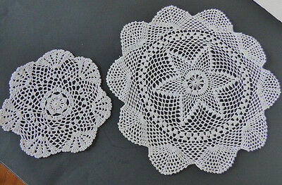 Two vintage hand crocheted white cotton doilies