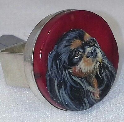 BLACK & TAN Cavalier King Charles Spaniel Silver Ring handpainted Coral  SIZE 7