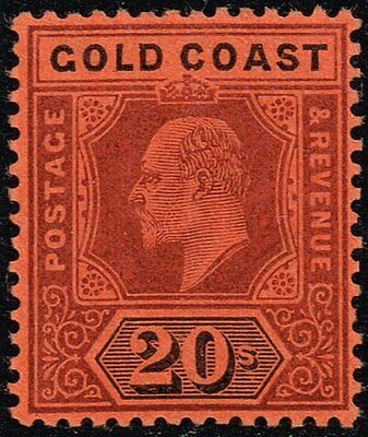 Gold Coast 1902 20s. purple & black / red, MH (SG#48)