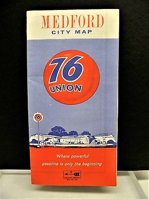 Vintage Union 76 Gas Station 1967 Medford Oregon City Travel Map Free Shipping