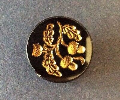 Antique Black Glass, Gold Luster Acorns Button, Self Shank