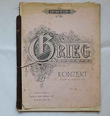 Grieg Konzert Piano Concerto A minor Opus 16 Edition Peters  vintage sheet music