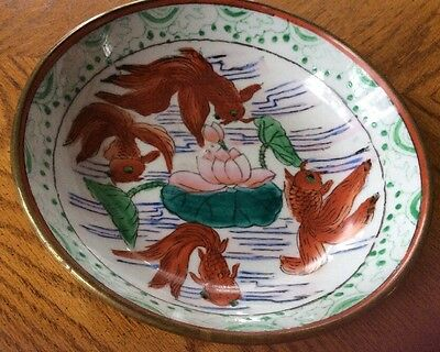 "Vintage Porcelain Bowl Brass Cased Hand Painted Fish Koi 7"" Wall Hanging Chinese"