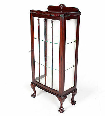 Vintage Bookcase Glass Cabinet Bowfront Cupboard Glazed Mahogany Display Cabinet