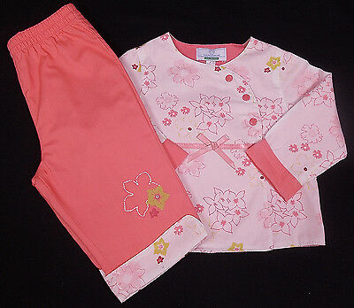 Vertbaudet baby girl trousers top outfit set peach 6 months