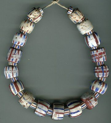 African Trade beads Vintage Venetian glass old brown core white striped beads