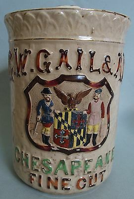 Large G.w. Gail & Ax Advertising Counter Top Tobacco Jar  Not Tin With Lid Excl.