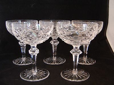 Set Of 5 Waterford Irish Cut Crystal Powerscourt Champagne Coupe Dessert Glasses