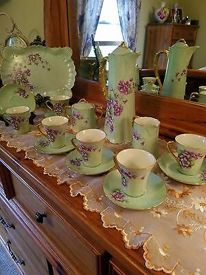 Early Continental Hand Painted Violet Chocolate Pot Set , Artist Signed